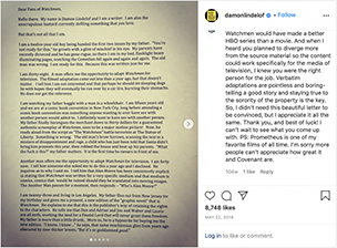 Screenshot of Damon Lindelof's Instagram post on May 22, 2018, featuring the first page of his letter to Watchmen fans.