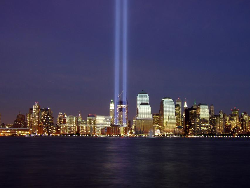 Two beams of light represent the former Twin Towers of the World Trade Center during the 2004 memorial of the September 11, 2001 attacks.