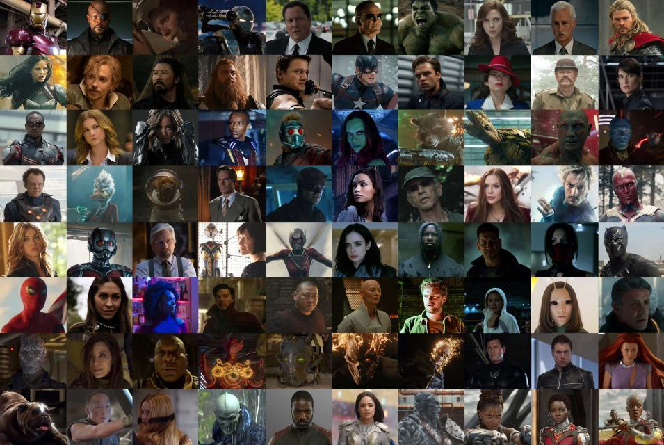 collage of characters from the MCU