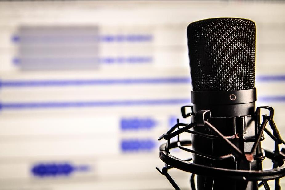 Microphone with recording software in the background.