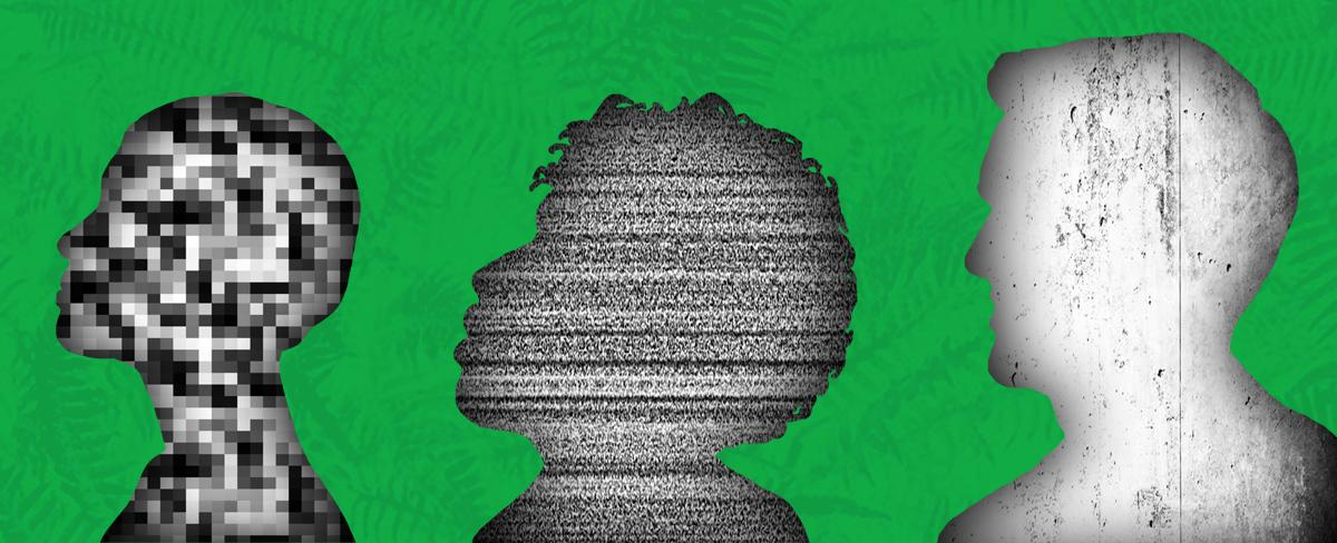 Profiles filled with forms of static on a green background.