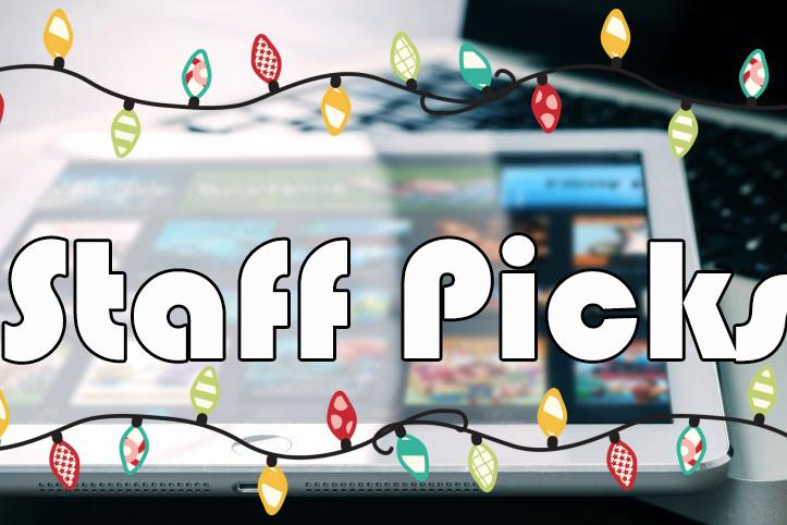 """Staff Picks"" with holiday lights around it and a tablet with apps in the packground."