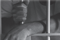 A fair skinned person in a white t-shirt stands within a jail cell with white painted bars. He drapes on wrist over the lock and grips a bar with his other hand.