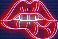 Neon drawing of lips