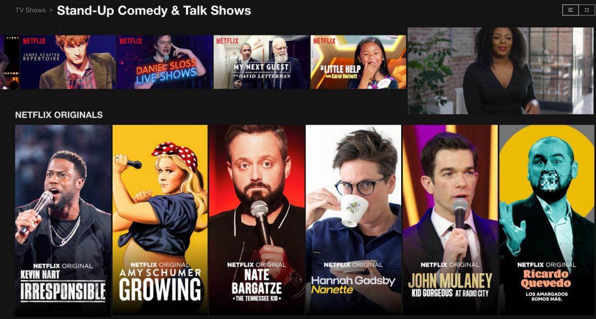 Screen shot of Netflix's comedu landing page.